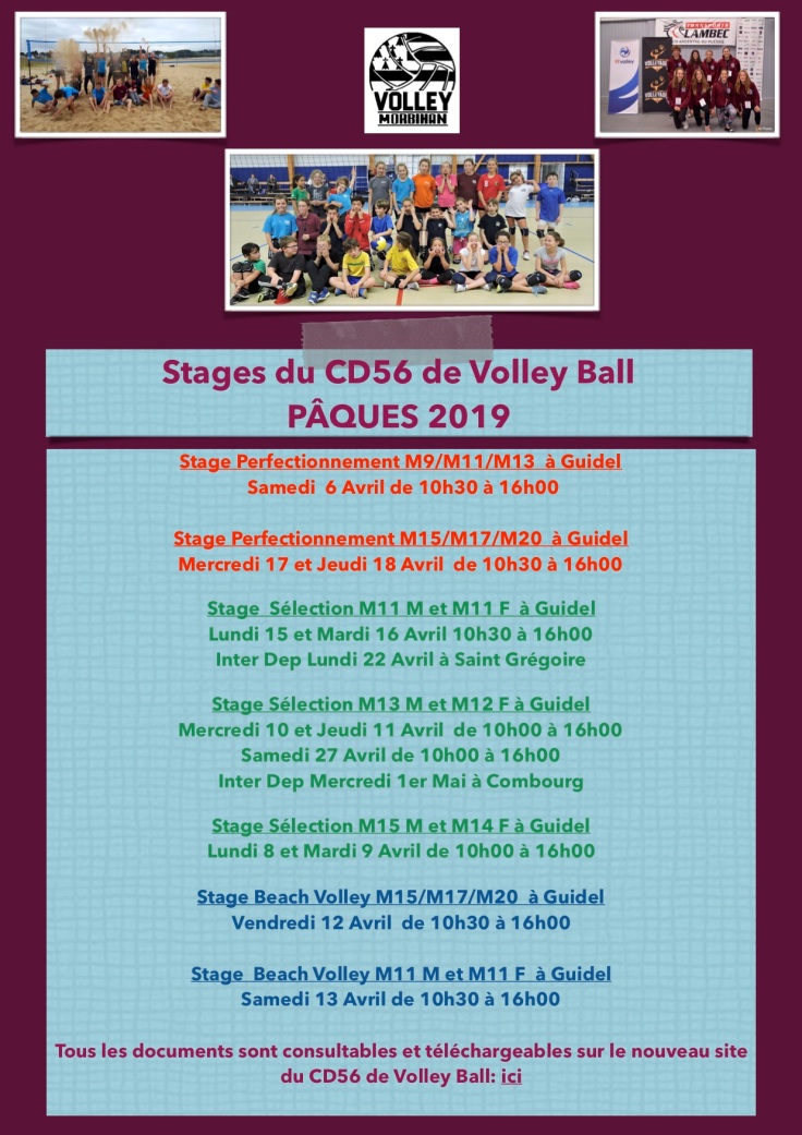 Stages AVRIL 2019